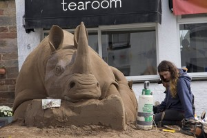 Claire making the White Rhino poached in Africa for their horns