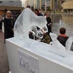 ice sculpture of polar bear and fox
