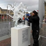 Jamie Wardley and ice sculpture