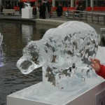 leopard ice sculpture