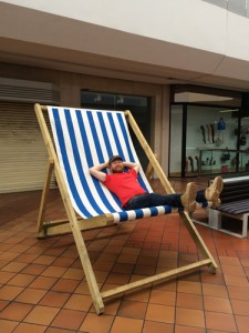 Jamie Wardley and giant deckchair