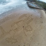 Tynemouth beach sand drawing