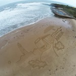 sand drawing in Tynemouth