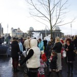 The crowds gather for the unveiling of the sculptures