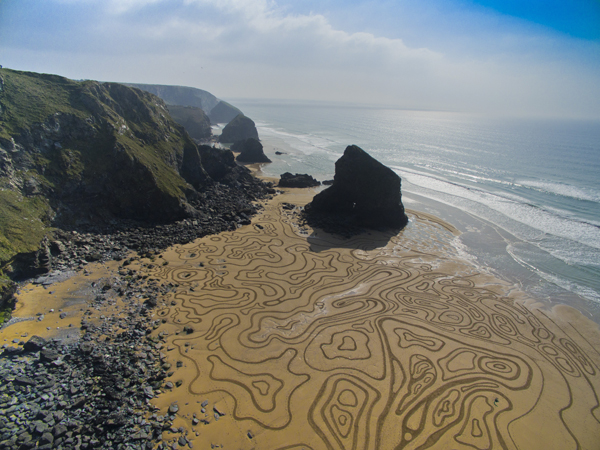 Bedruthan Steps sand drawing