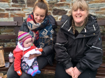 Claire, Florence and Grandma, all smiles after tasting the famous Cornish pasty