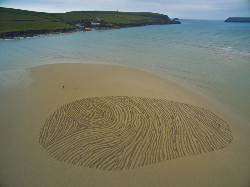 Thumb print sand drawing, Hawkers Cove, Cornwall