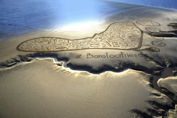Barefoot Wine Beach Rescue Project Sand Drawing, Morecambe Bay