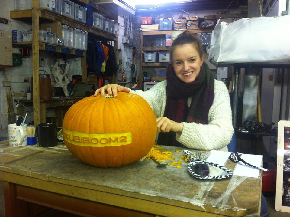 Claire Jamieson in the workshop, carving the pumpkins