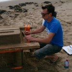 Tom sand carving on Scarborough beach