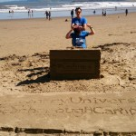 Tom and Jo with the interactive sand sculpture Scarborough