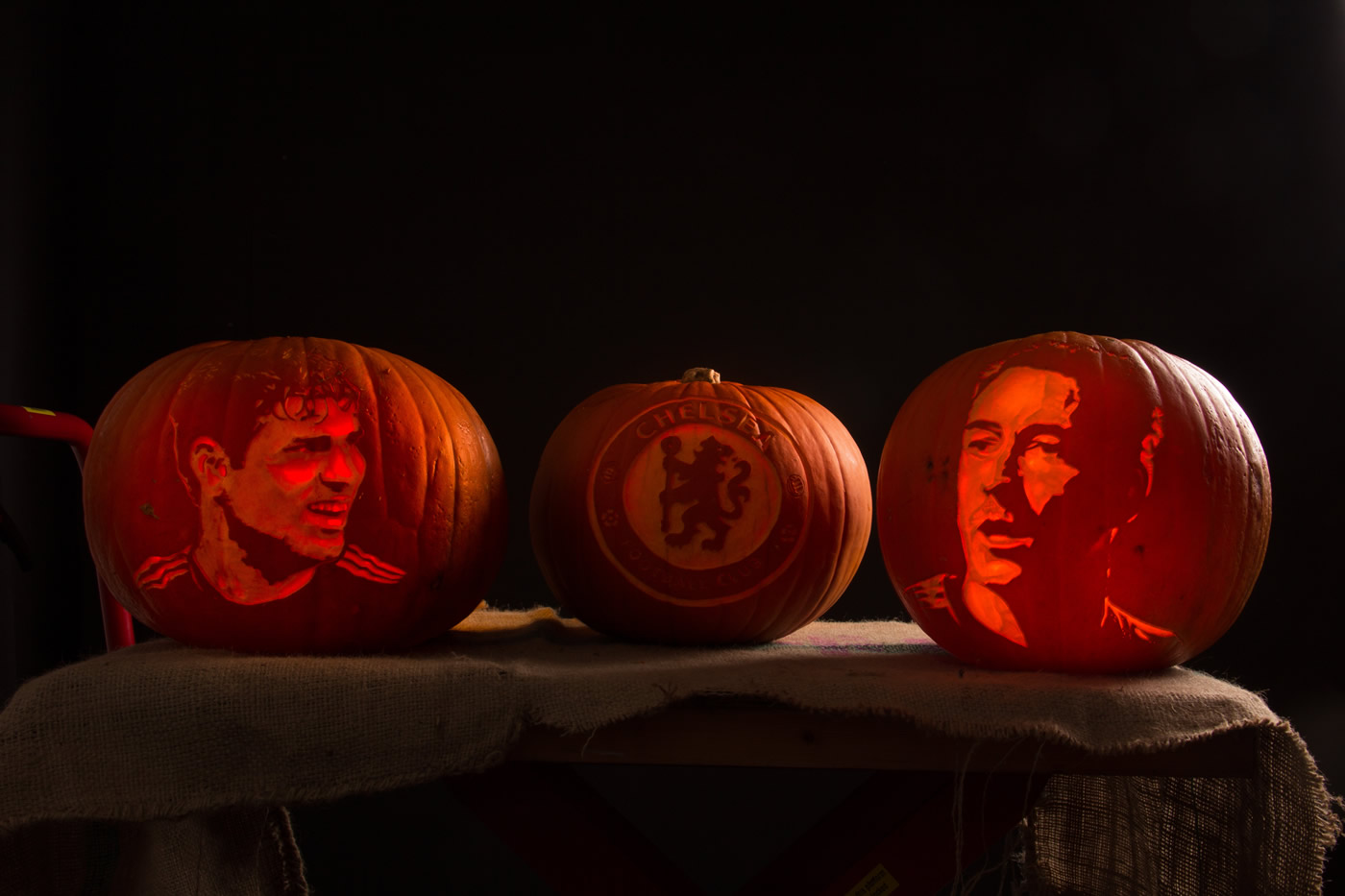 Chelsea FC professionally carved pumpkins for Halloween