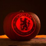 Chelsea FC logo carved into a pumpkin