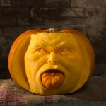 Scary face pumpkin for Halloween