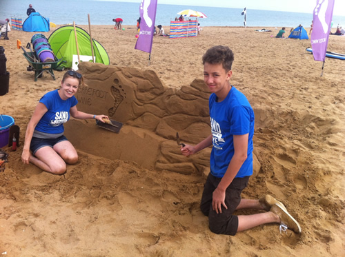 Harry and Claire sculpting in Margate