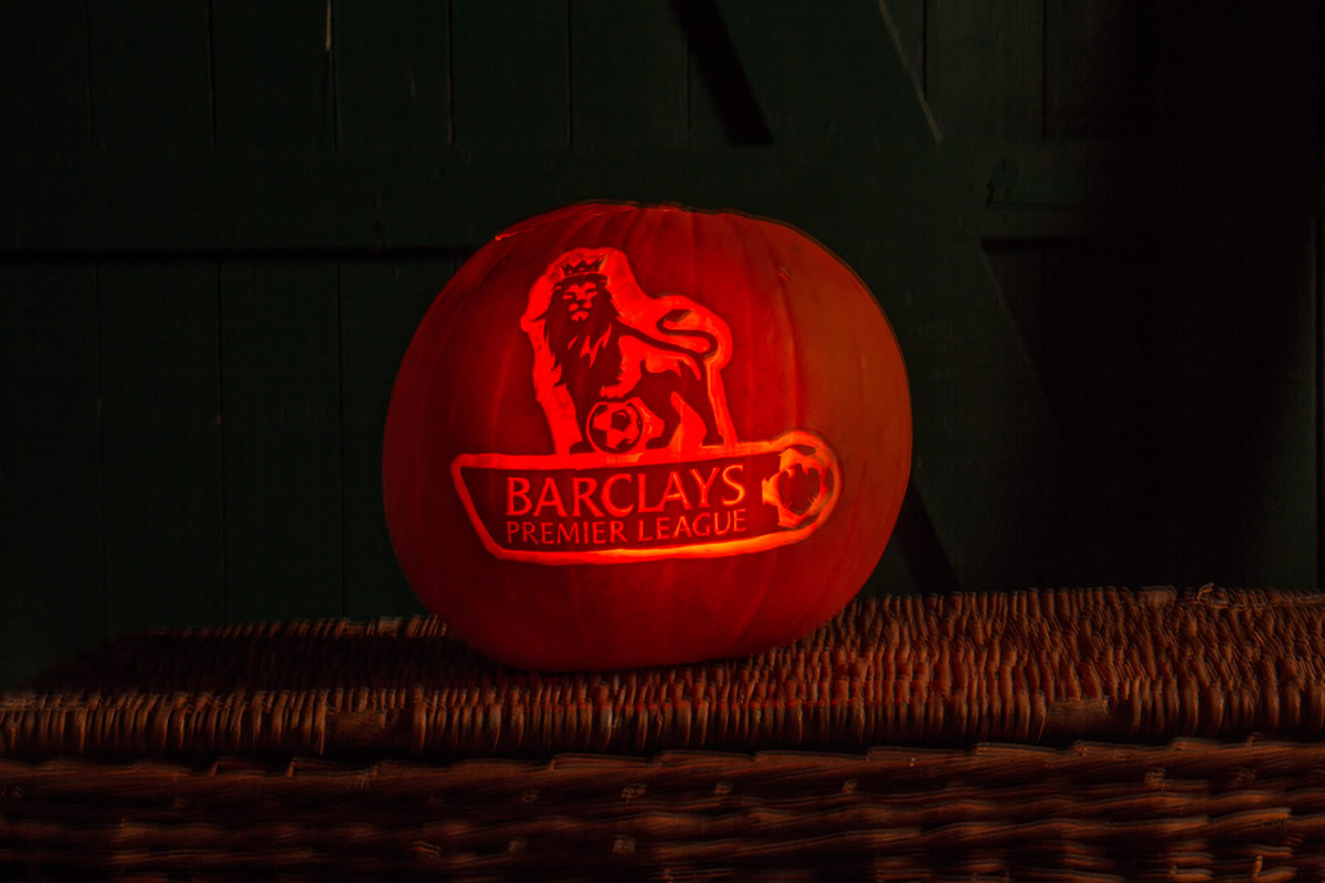 Premier League logo carved into a pumpkin for Halloween
