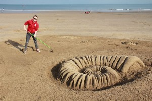 Finishing off the beach sculpture