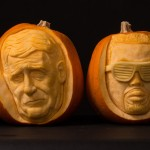 Celebrity portraits carved into pumpkins