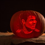 Chelsea player Diego Costa, portrait carved into a pumpkin