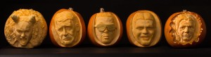 Famous faces by professional pumpkin carver Jamie Wardley