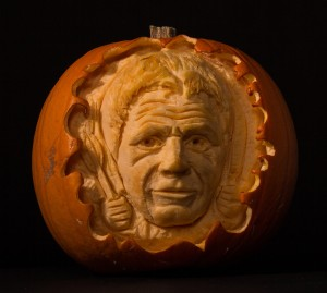 Celebrity Gordon Ramsey carved in to a pumpkin