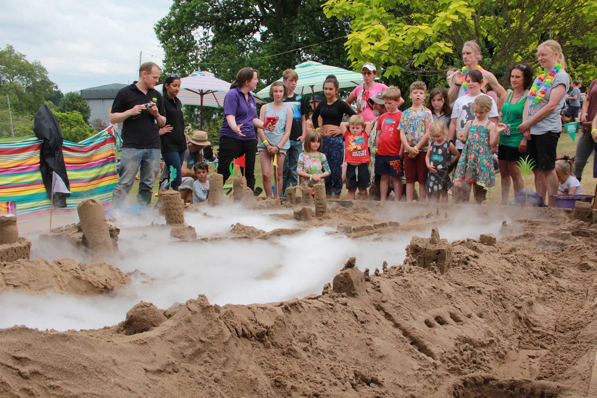 Working with the Met Office at Green Man Festival with sand sculpture workshops