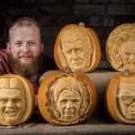 Jamie and his pumpkin carvings, image by REX