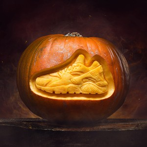 trainer carved into a pumpkin