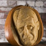 Jeremy Paxman portrait in a pumpkin, image by REX