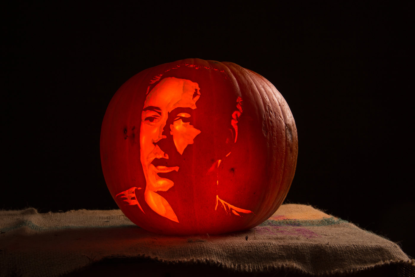 Chelsea player John Terry, portrait carved into a pumpkin