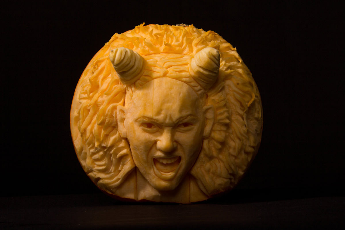 Celeb Scary Spice made into a  Halloween Pumpkin