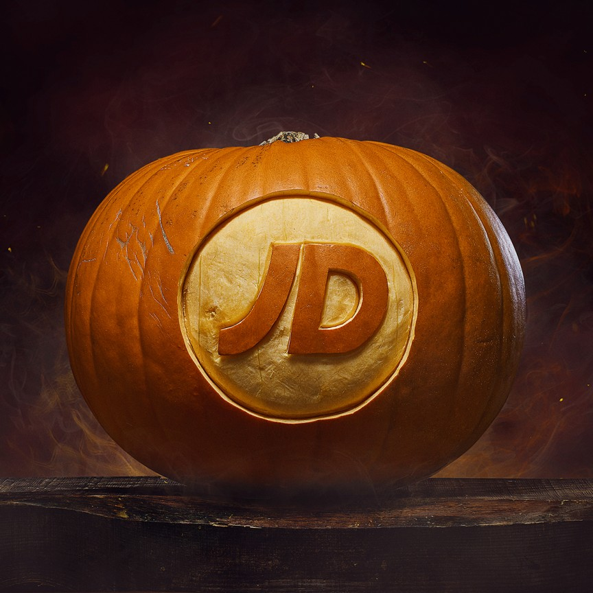 JD logo carved into a pumpkin