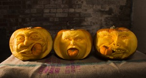 3 of the finished pumpkin carvings ready to be couriered for Halloween