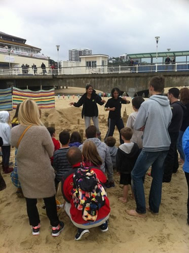 The Met Office guys doing the sand dance!