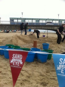 Preparing the hills for the first sand sculpture workshop