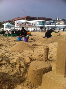 A bit of re-building of our sand castles between workshops