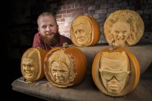 Sand In Your Eye, Jamie Wardley with his famous faces pumpkins, image by REX
