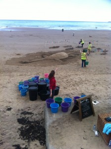 The team hard at work prepping the sand sculpture workshops