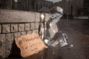 Please look after me. 1st ice sculpture is placed in Bradford, West Yorkshire.