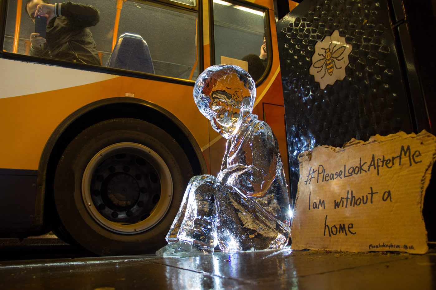 One of the ice sculptures placed outside the Manchester