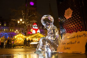 No.4 ice sculpture from Please Look After Me outside the Manchester Christmas Markets