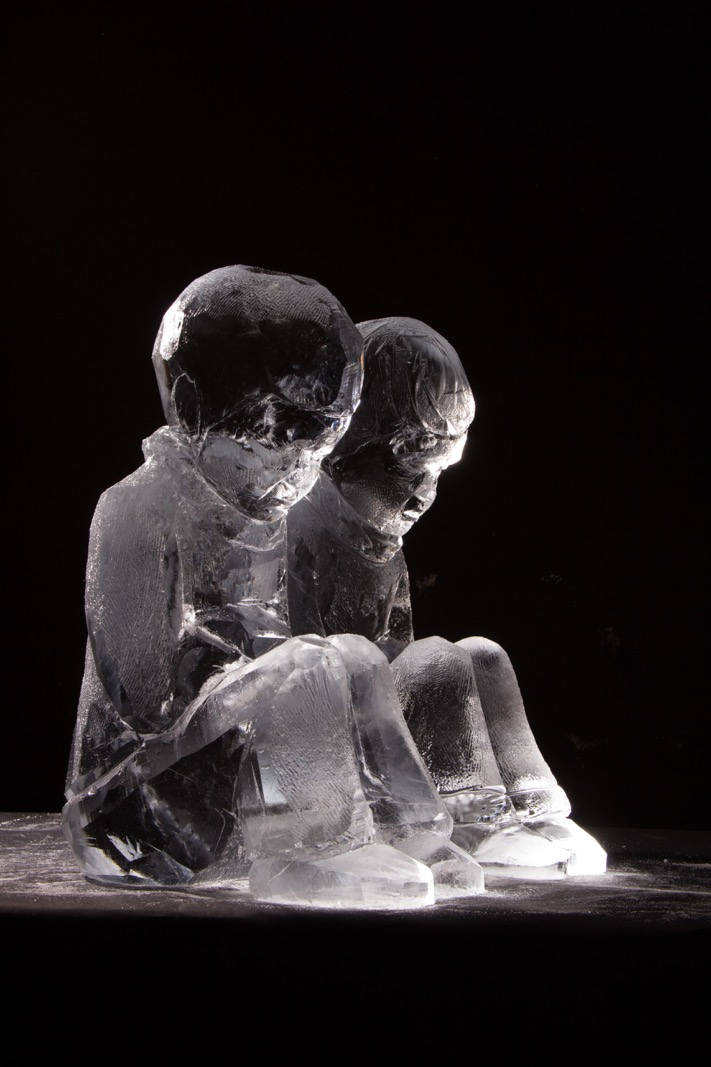 Sculpting progress of ice sculptures