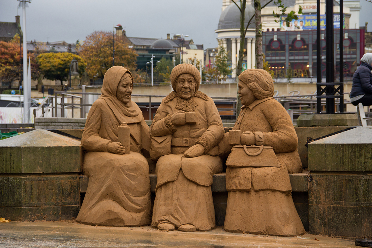 One of the sand sculpture's made for the Bradford sand sculpture event by Jamie Wardley and Claire Jamieson