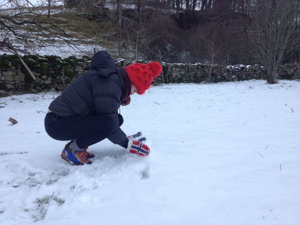 Claire Jamieson starting to build the snowmen