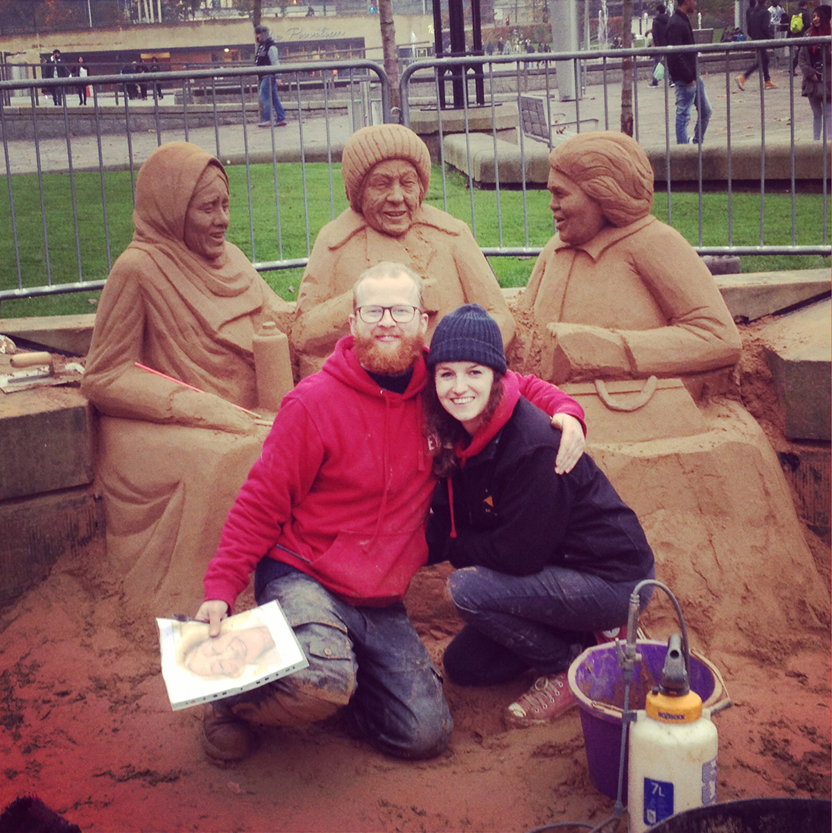 Jamie Wardley and Claire Jamieson, sand sculptors working on the Bradford sand sculpture event