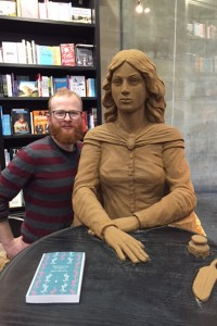 Jamie Wardley in Waterstones with his Emily Bronte sand sculpture