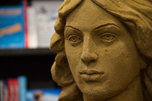 Emily Bronte made by Yorkshire sand sculptor Jamie Wardley