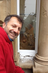 Yad and his Cottingley Fairy in the window of the Santandare Bank