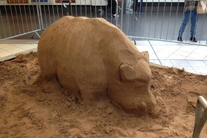 Blocking out the Bradford Boar sand sculpture in the indoor location of Bradford Interchange