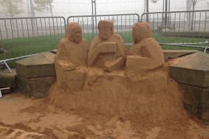 Blocking out a sand sculpture for Bradford sand sculpture trail